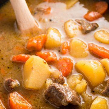Irish beef stew in crock