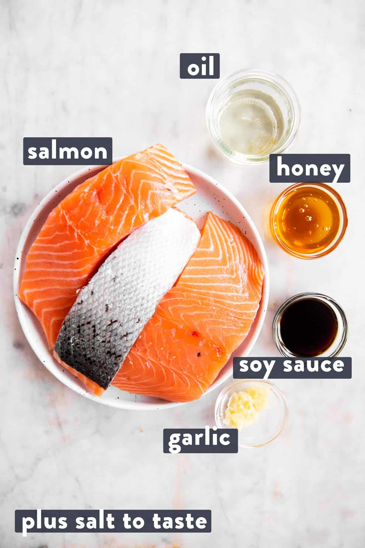 ingredients for honey garlic baked salmon with text labels