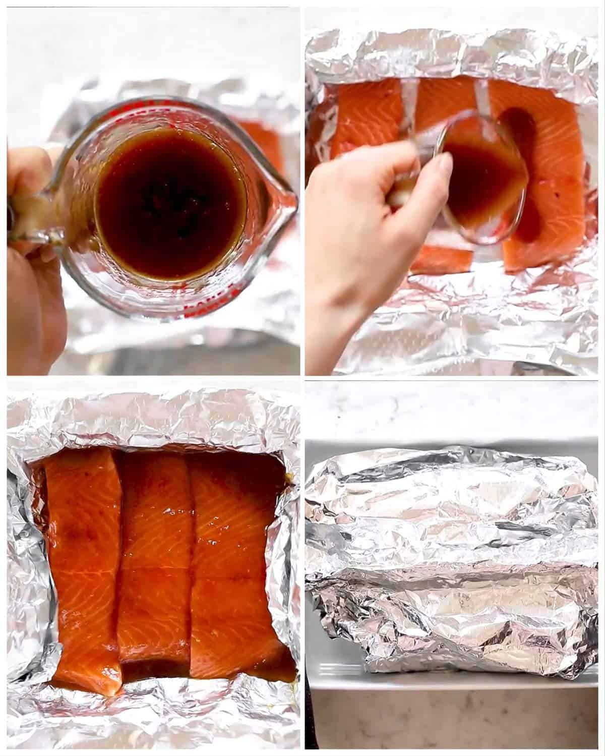 photo collage to show how to prepare honey garlic salmon baked in foil