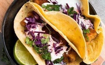 fish tacos in black dish