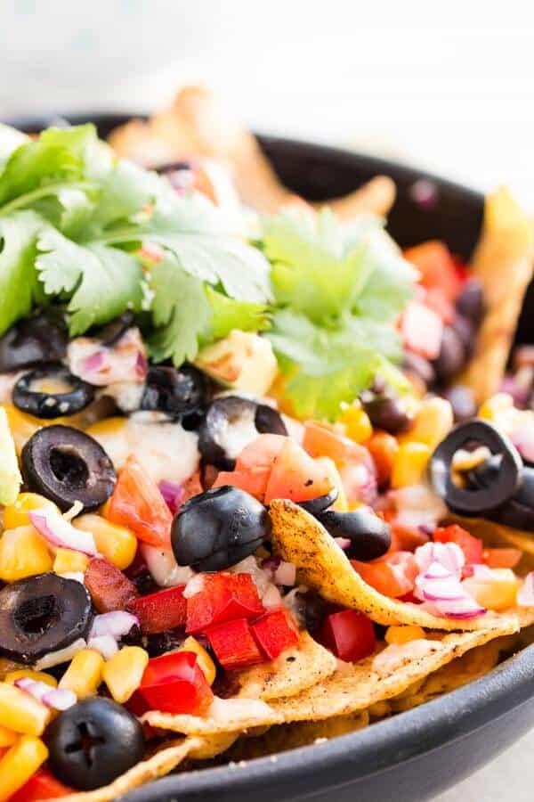 close up photo of vegetarian nachos