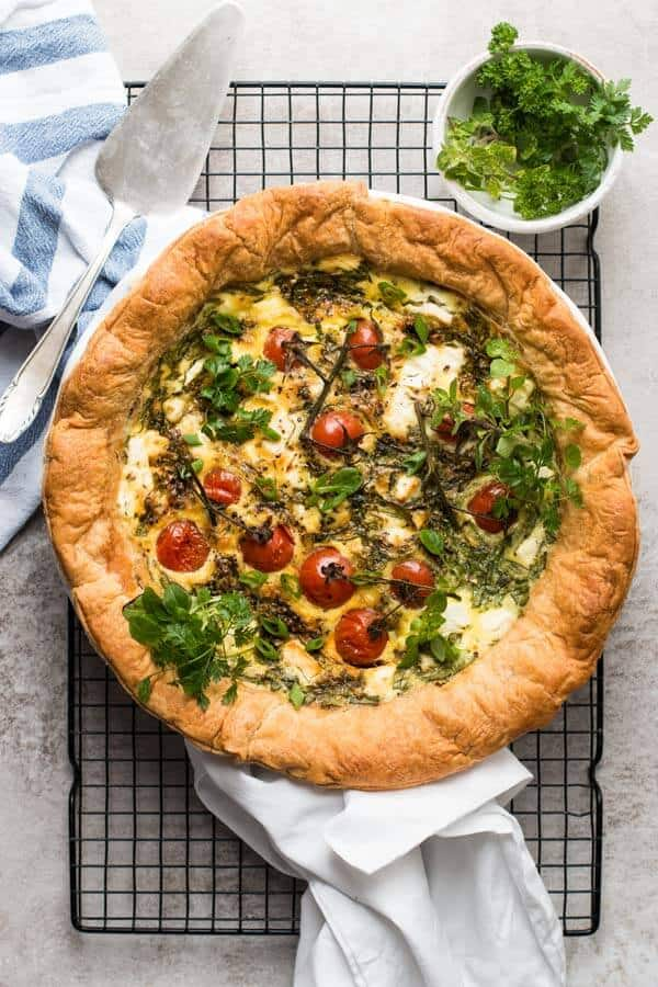 Spinach Feta Quiche With Tomatoes Easy Brunch Recipe