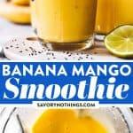 Banana Mango Smoothie Image Pin