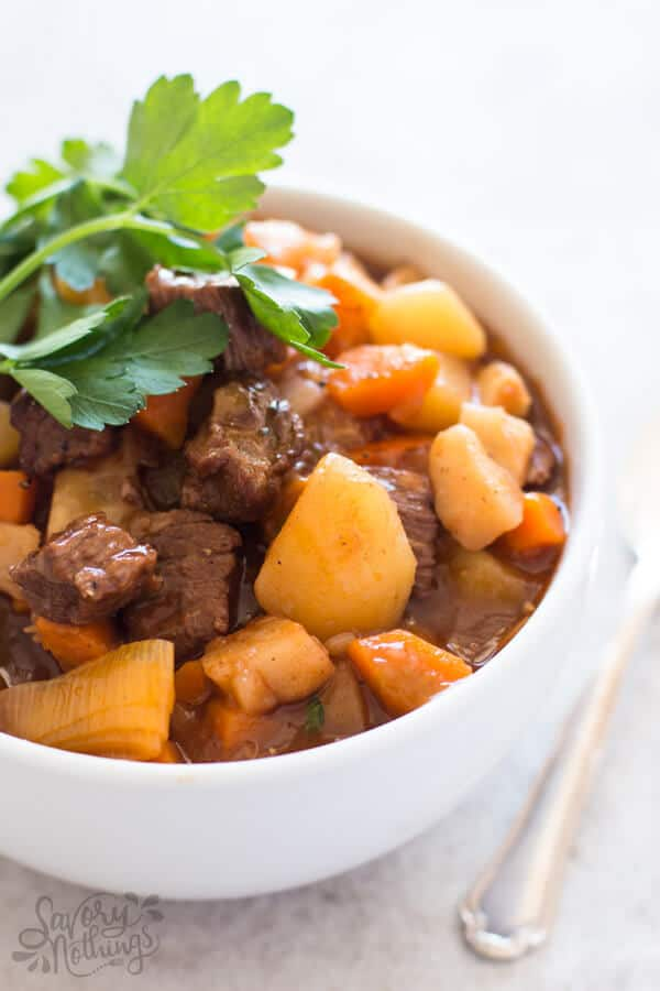This easy classic beef stew recipe is cooked in one pot on the stove top. It's made with beef stewing meat, vegetables, red wine and tomato paste and hearty seasoning.