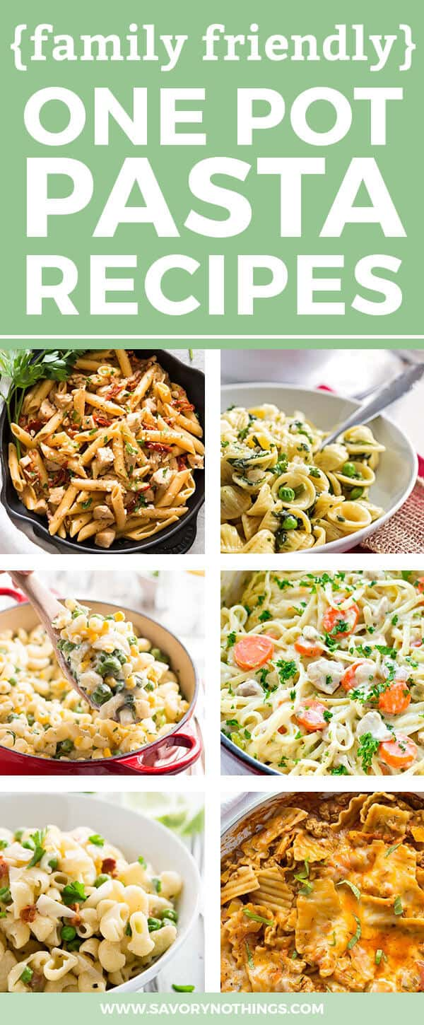 Are you in need of new family friendly one pot pasta recipes? These 20 recipes are easy to put together and make for a simple dinner your whole family can enjoy. Filled with your favorite pasta flavors like Italian or Asian, these recipes will put healthy homemade meals on the table ASAP! Some are vegetarian while others are with chicken, beef or bacon. Sauces like tomato basil, creamy alfredo or primavera are kid-friendly so even the littlest can load up their spaghetti with cheese :)
