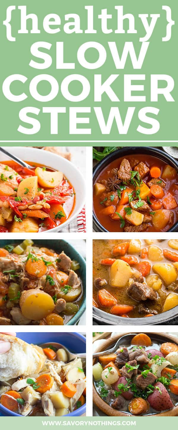 Chilly fall nights call for healthy slow cooker stew recipes! Get your crock pots ready, because these 18 easy and healthy options got you covered. From skinny chicken recipes to hearty Irish beef stew, these slimming crockpot meals are filed with meat and vegetables. Simple and quick to put together, slow cooker stews are must-have staple recipes for every busy family. Click through now to see 18 of the best healthy crockpot stews!
