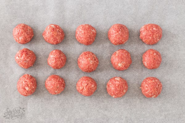 top down view on meatballs on baking sheet