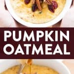 photo collage of pumpkin oatmeal