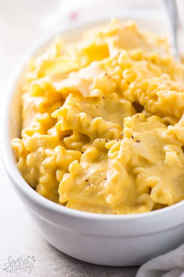 close up photo of butternut squash pasta