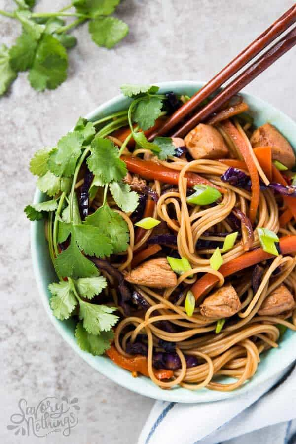 Honey garlic chicken stir fry noodles recipe these easy honey garlic chicken stir fry noodles are ready in less than 30 minutes for forumfinder Choice Image