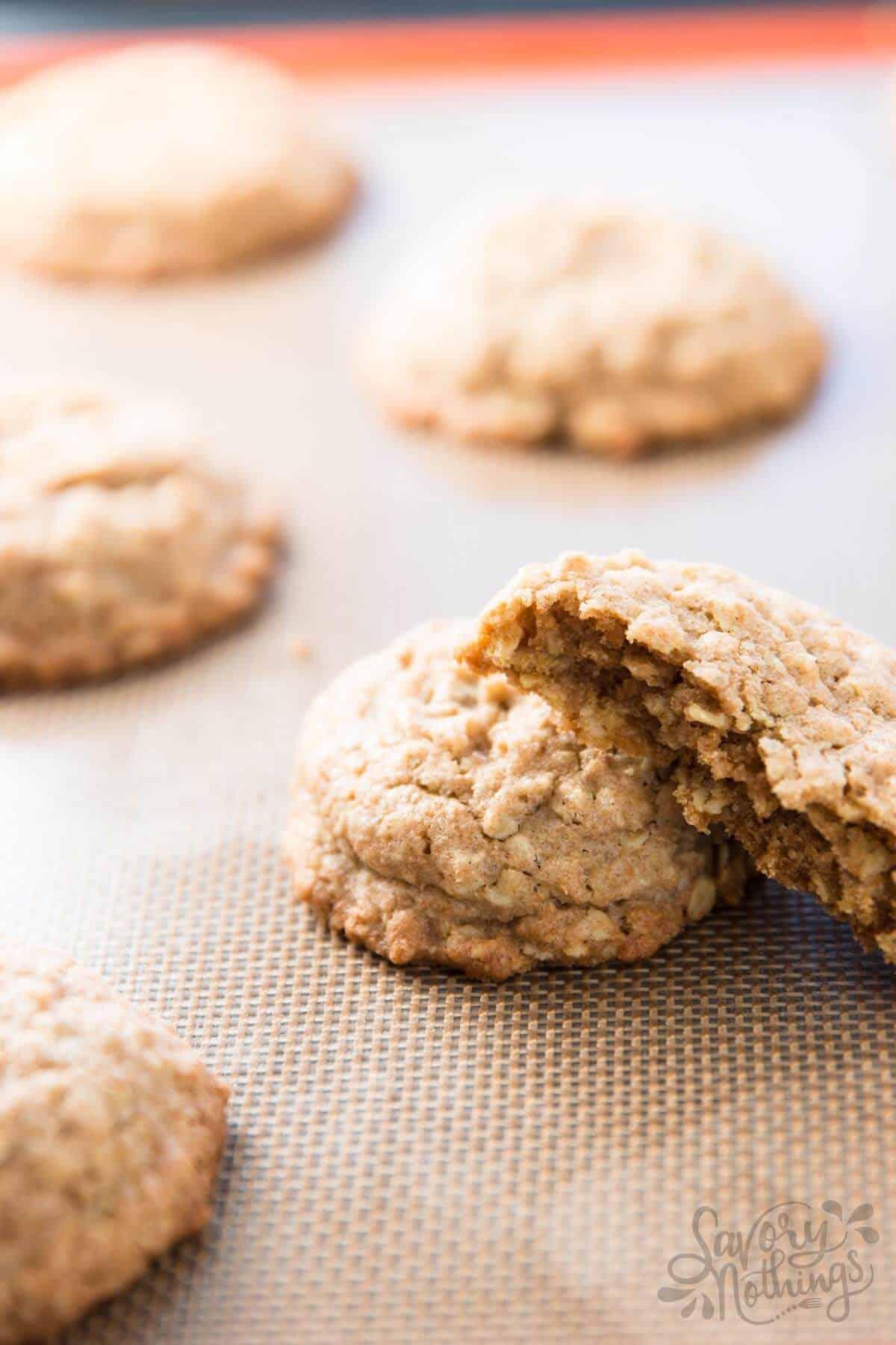 oatmeal cookies on cookie sheet