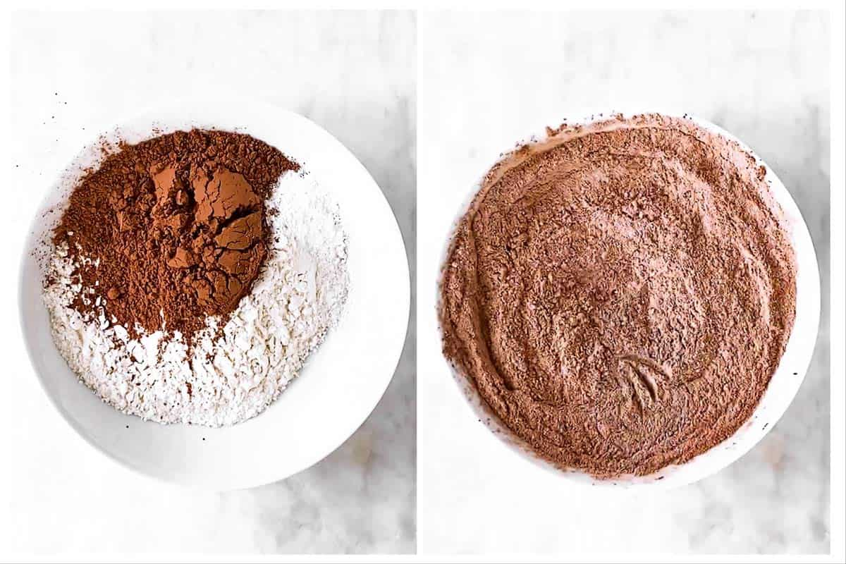 photo collage to show how to combine dry ingredients for chocolate banana muffins