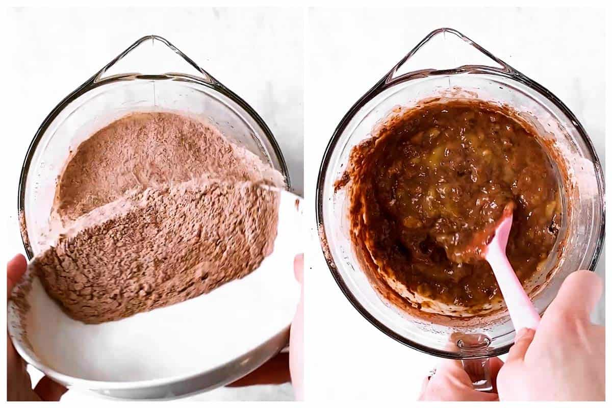 photo collage to show how to combine batter for chocolate banana muffins