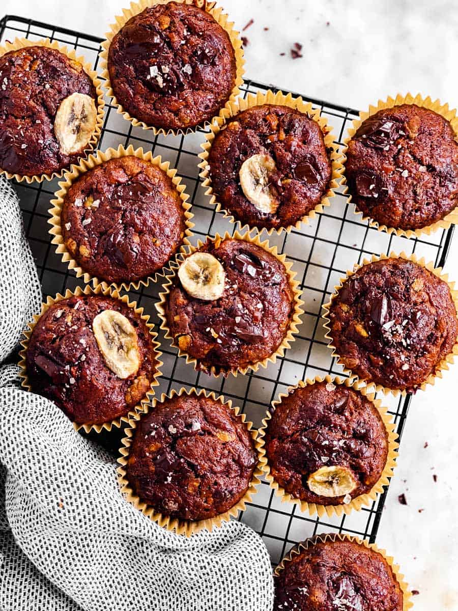 chocolate banana muffins on cooling rack