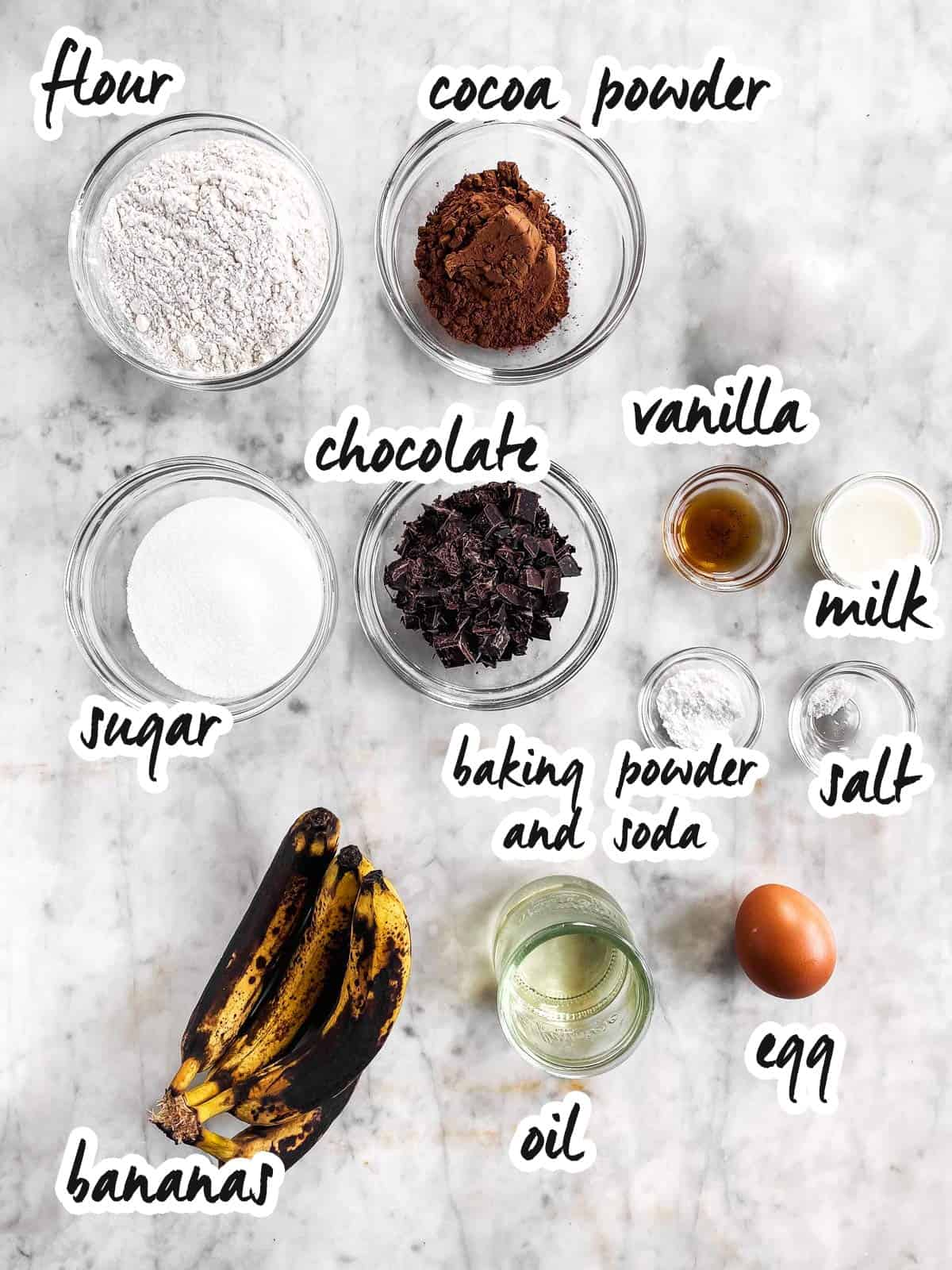 ingredients for chocolate banana muffins with text labels