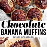These healthier double chocolate banana muffins are loaded with extra mashed bananas, dark chocolate chips and whole wheat for healthy goodness. A short ingredient list and easy instructions make them quick and simple to assemble. Sneak them into a lunch box or make them for a special breakfast or weekend brunch. Thanks to all the banana they are incredibly moist. If you want to prep them ahead, they can easily go into the freezer! | #healthy #healthybreakfast #muffins