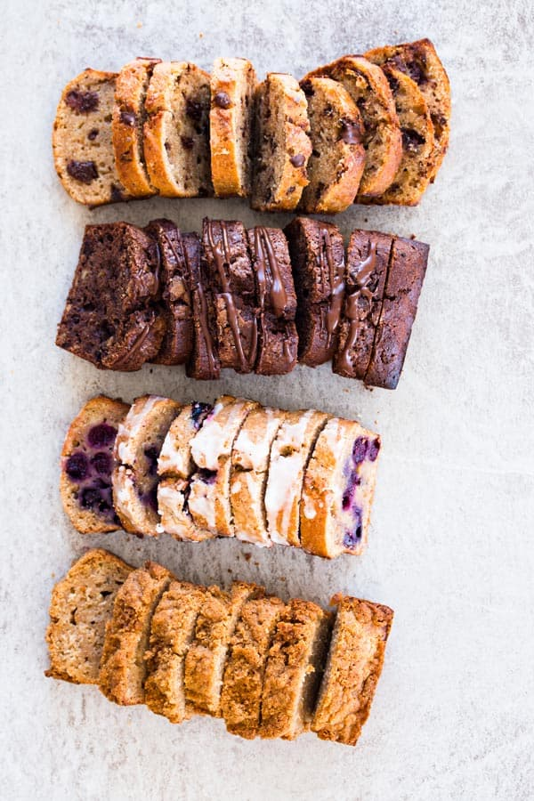 top down view on four loaves of sliced banana bread