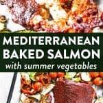 photo collage of mediterranean baked salmon