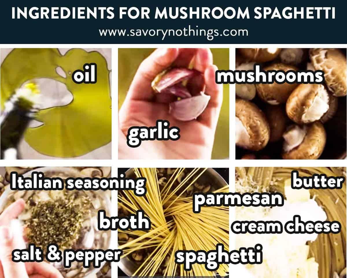 photo collage of mushroom pasta ingredients