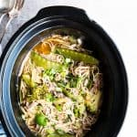 top down view on crock with asian pork noodles
