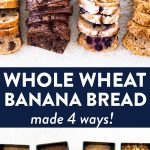 photo collage of whole wheat banana bread