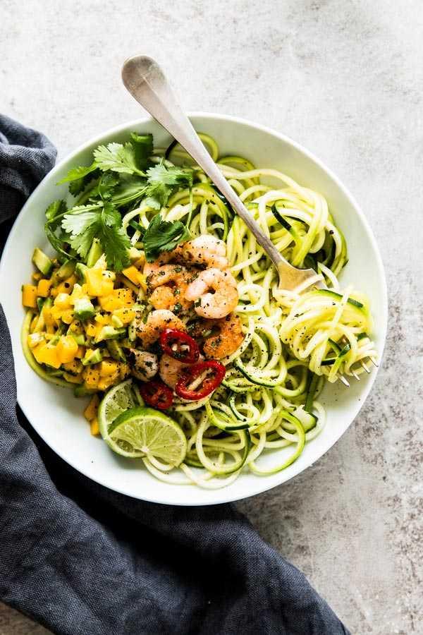 Zucchini Noodles with Cilantro Lime Shrimp and Avocado Mango Salsa