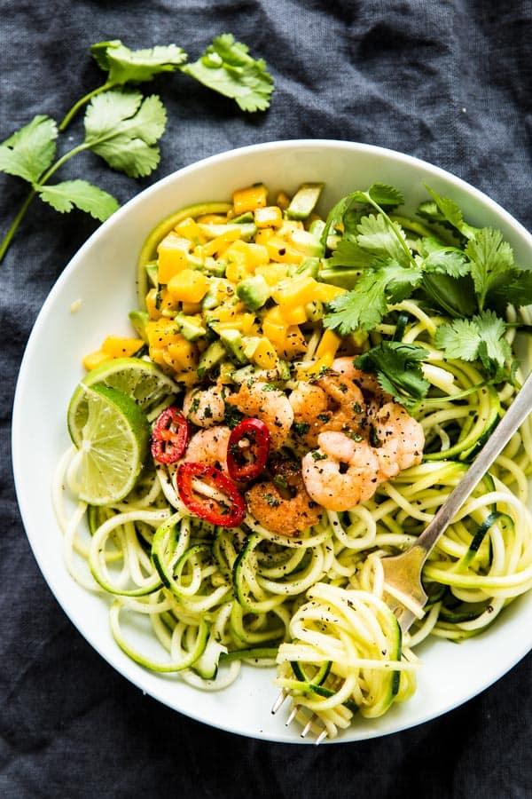 Zucchini Noodles with Cilantro Lime Shrimp - Easy Clean ...