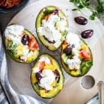 Chopped Greek Salad Stuffed Avocados with Tzatziki Sauce