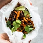 Mexican Sweet Potato Fries with Avocado Lime Dip