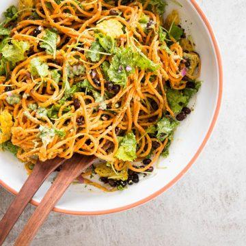 sweet potato noodle salad in salad bowl