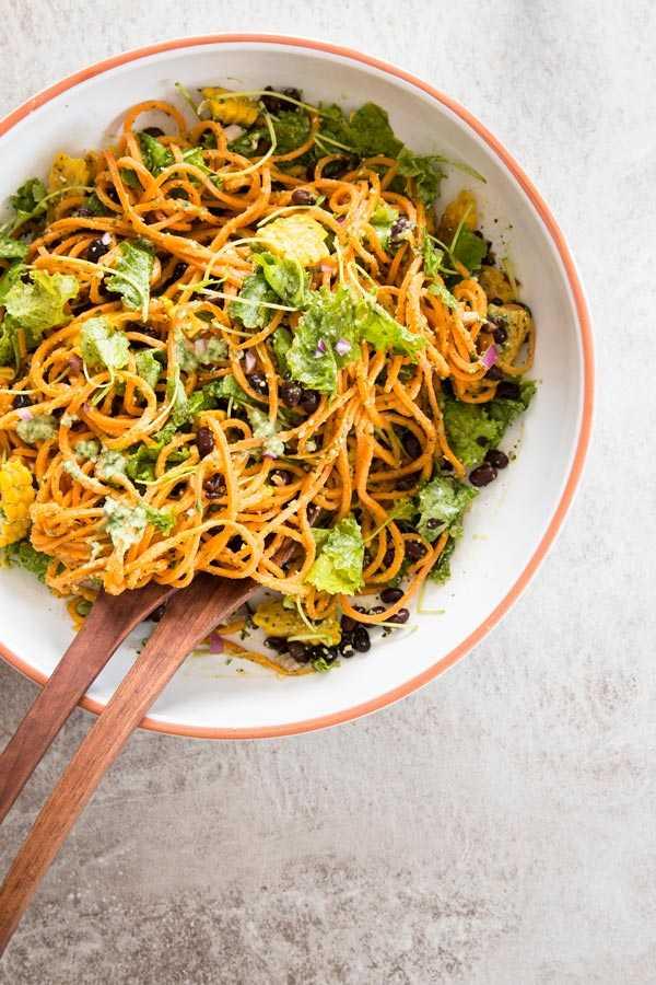 Southwestern Sweet Potato Noodle Salad with Avocado Pesto