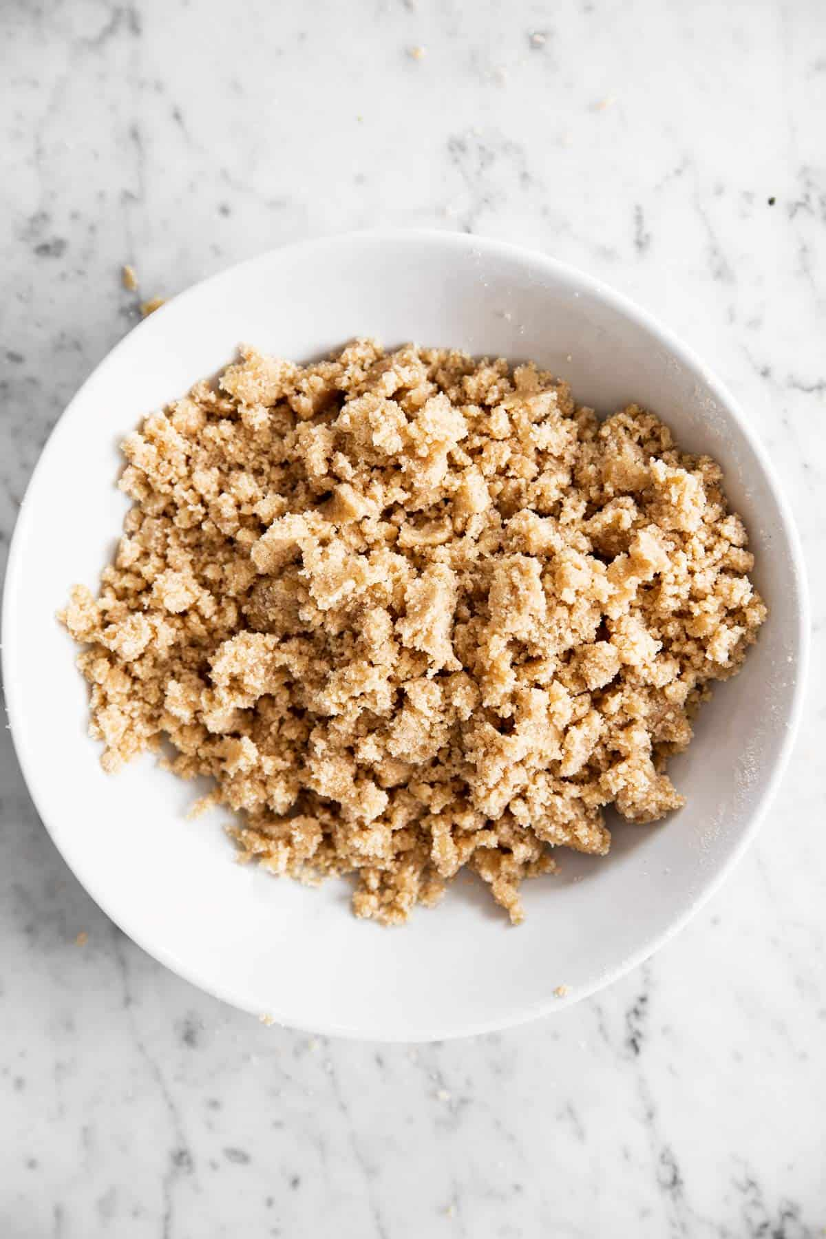 white bowl filled with streusel