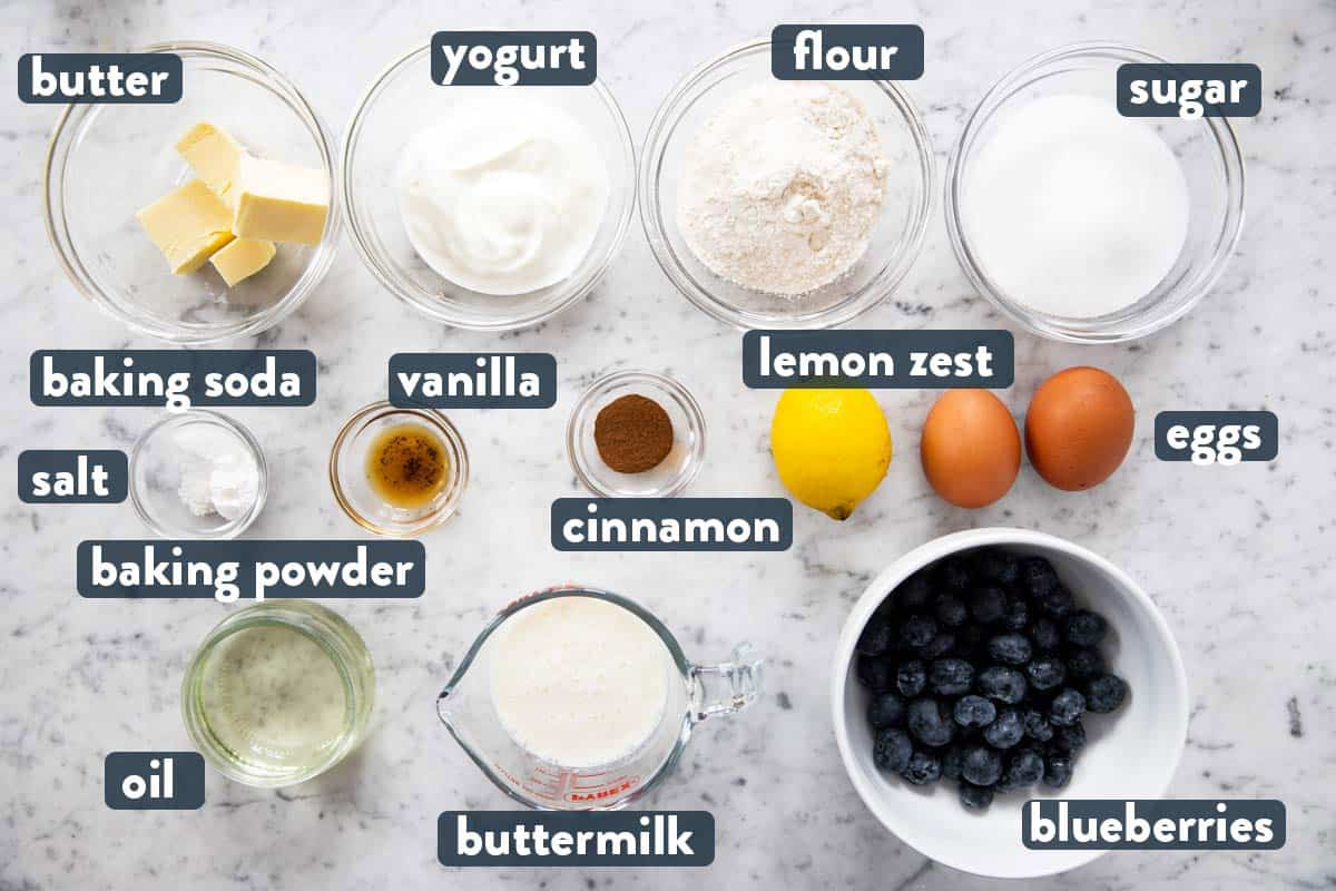 ingredients for blueberry muffins with text labels