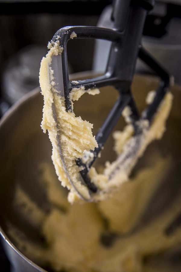 Cake batter for yogurt raspberry cake. In a stand mixer.