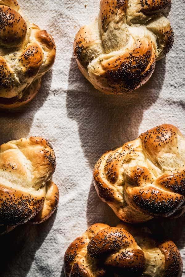 Small Challah bread rolls.