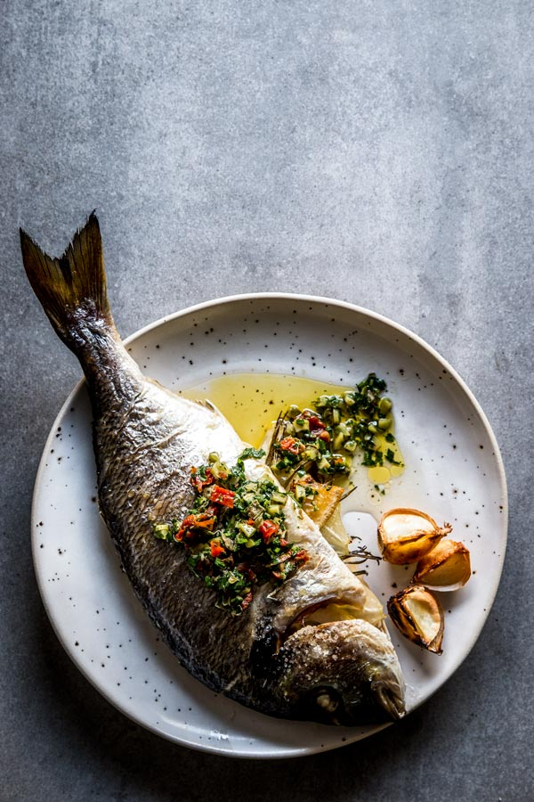 Baked Whole Fish With Lemon Herb Garlic Butter Stuffed