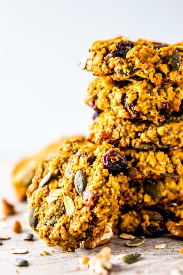 close up photo of pumpkin breakfast cookies