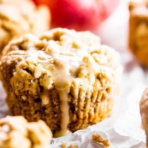 apple muffin on parchment