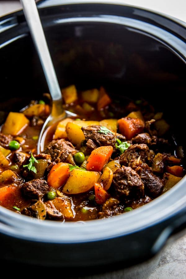Serve up a hot meal without the fuss for your family tonight: This crock pot beef stew is the perfect easy comfort food dinner.