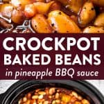 photo collage of crockpot baked beans