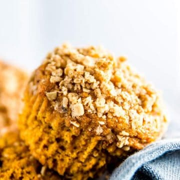 healthy pumpkin muffin on black napkin