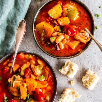 two bowls with tuscan chicken stew