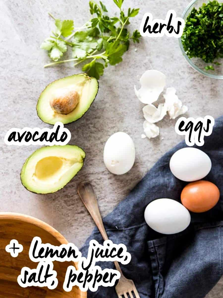 ingredients for avocado egg salad with text labels
