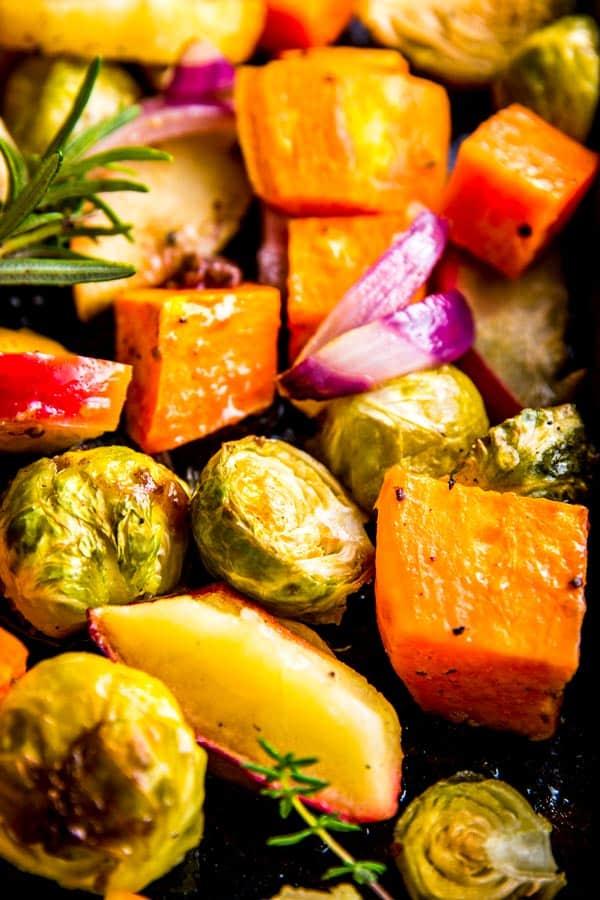 close up photo of roasted harvest vegetables