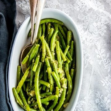white dish with cooked green beans