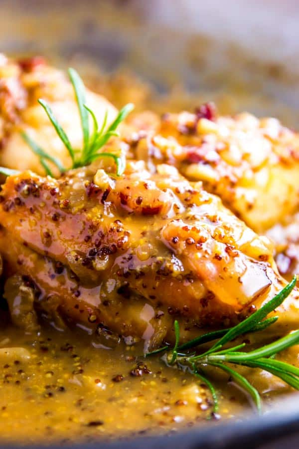 Honey Mustard Chicken with Bacon in the pan