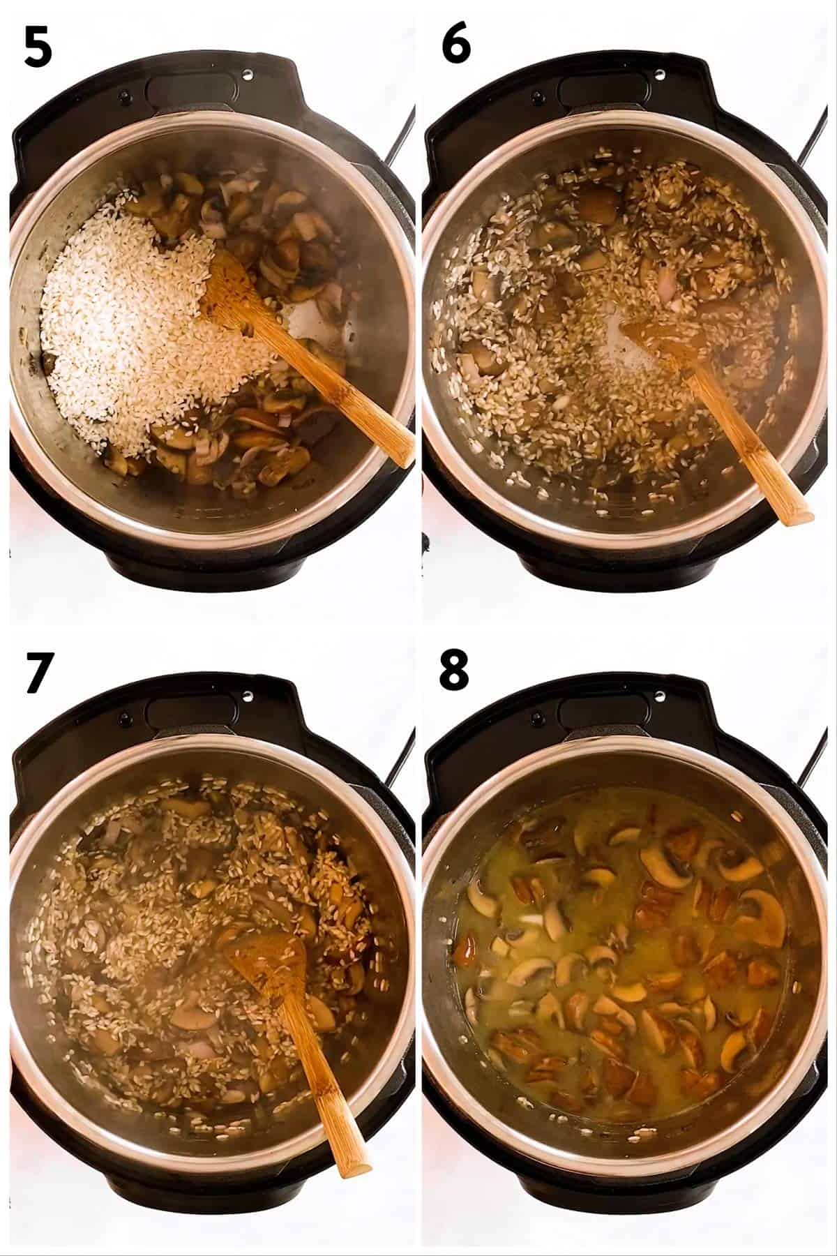 collage of steps to show how to sauté rice for risotto