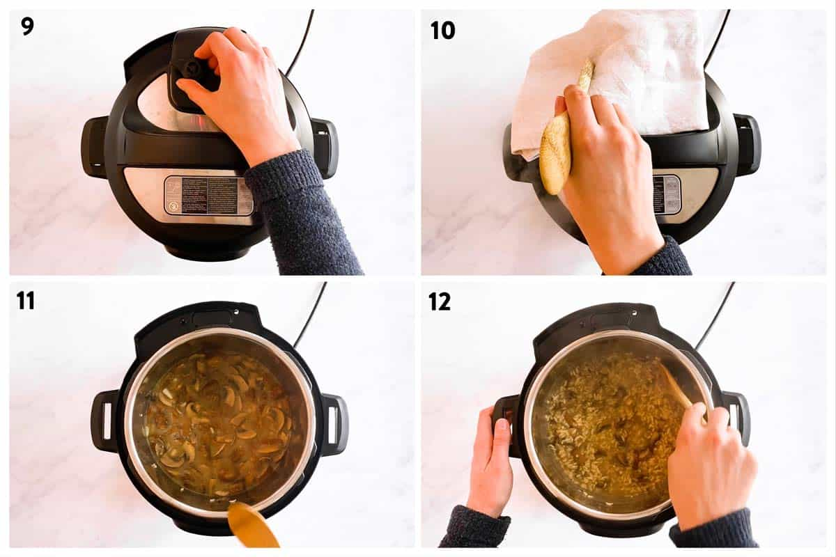 collage of steps to show how to pressure cook risotto