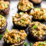 Easy Stuffed Mushrooms are a simple to make appetizer. Full of garlic and parmesan flavors!