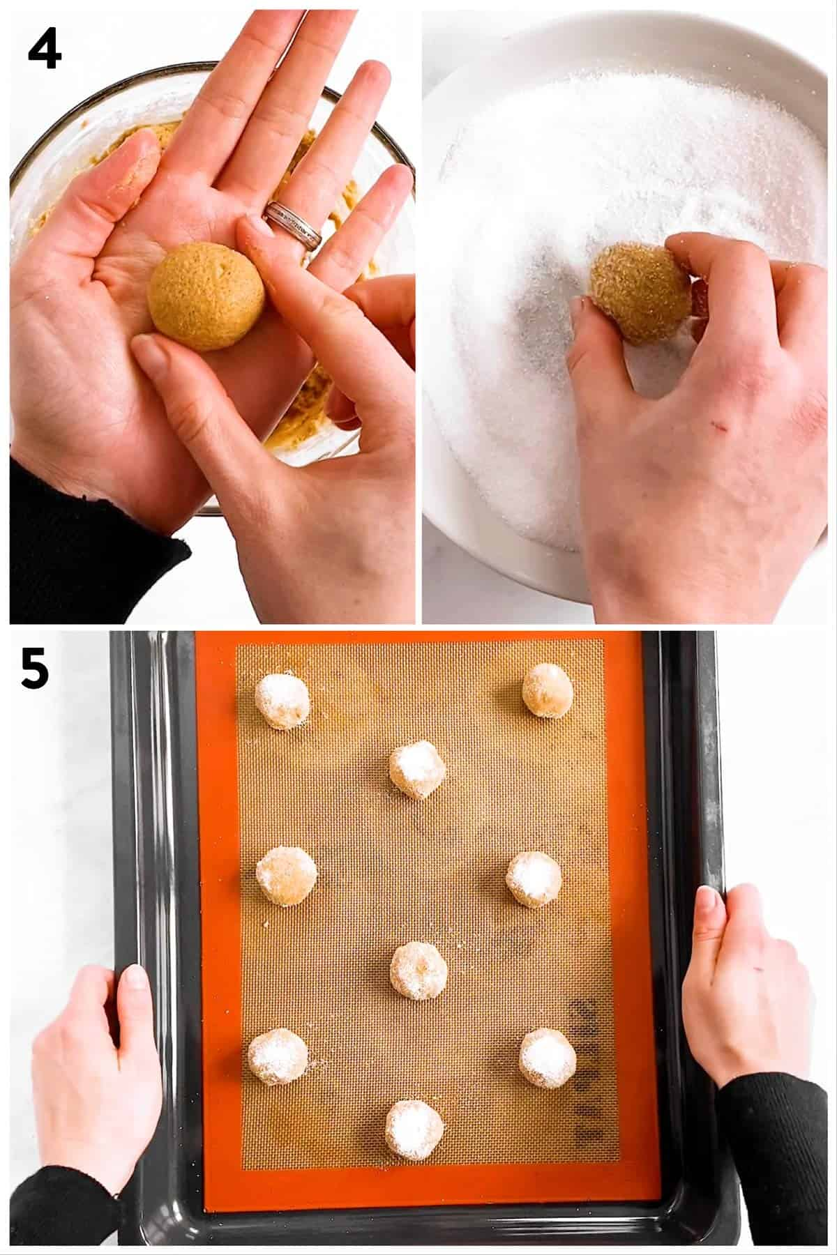photo collage to show shaping of soft ginger molasses cookies